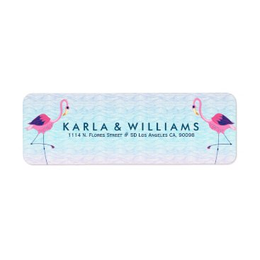Beach Themed Pink Flamingos & Stylized Water Waves Label