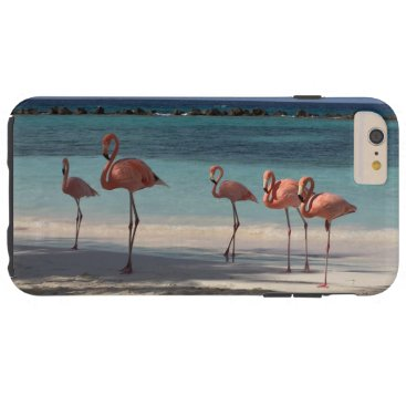 Beach Themed pink flamingos tough iPhone 6 plus case