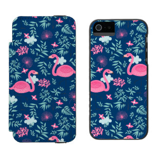 Pink Flamingos & Tropical Flowers Illustration G1 Wallet Case For iPhone SE/5/5s