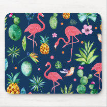 Pink Flamingos & Tropical Leafs & Flowers Pattern Mouse Pad