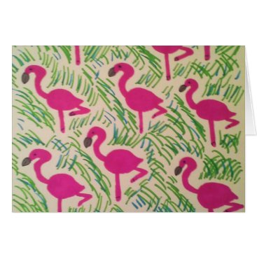 Beach Themed Pink Flamingos Tropical Pattern Card