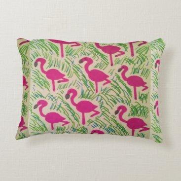 Beach Themed Pink Flamingos Tropical Pattern Decorative Pillow