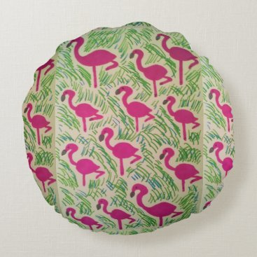 Beach Themed Pink Flamingos Tropical Pattern Round Pillow