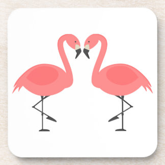 Pink Flamingos Tropical Wedding, Party, Luau Drink Coaster
