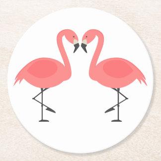 Pink Flamingos Tropical Wedding, Party, Luau Round Paper Coaster