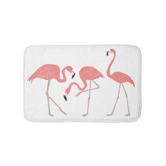Pink Flamingos Tropical Whimsy Bathroom Mat