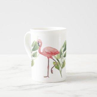 Pink Flamingos Watercolor Whimsy Bone China Mug