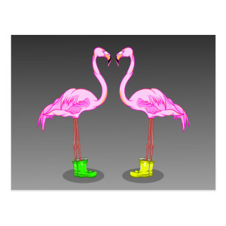 Pink Flamingos Wearing Gumboots Postcard