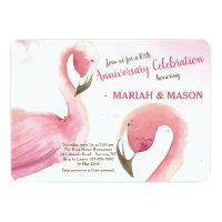 Pink Flamingos Wedding Anniversary Invitation