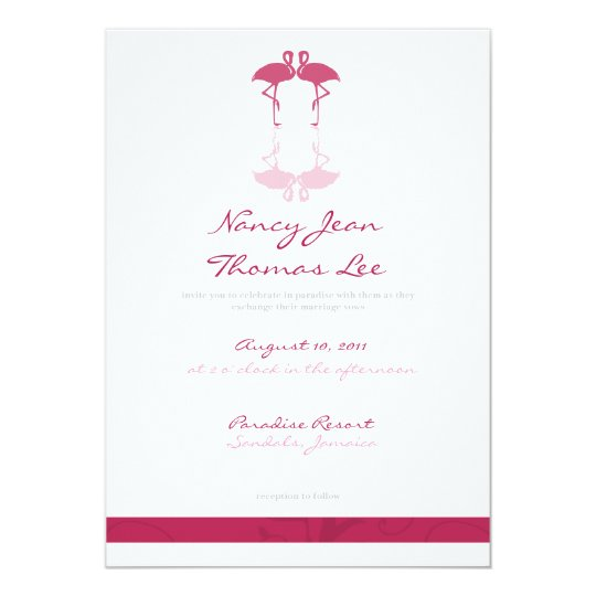 Pink Flamingos Wedding Invitation