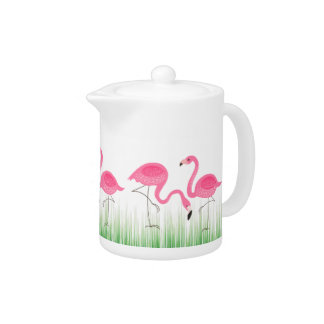 Pink Flamingos With Green Grass Teapot