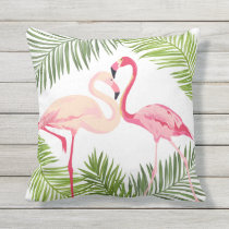 Pink Flamingos with Palm Leaves Throw Pillow