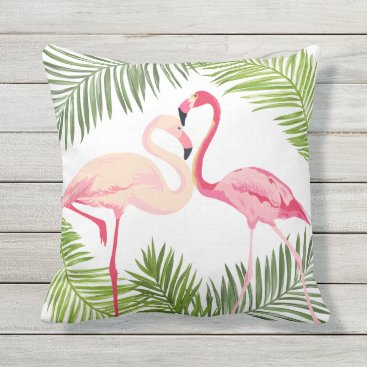 Beach Themed Pink Flamingos with Palm Leaves Throw Pillow