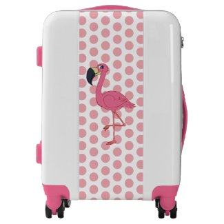 Pink Flamngo & Polka Dots Carry On, White, White Luggage