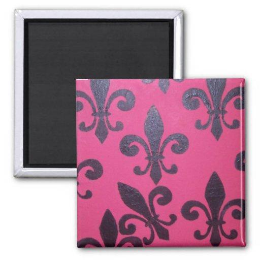 Pink Fleur De Lis 2 Inch Square Magnet