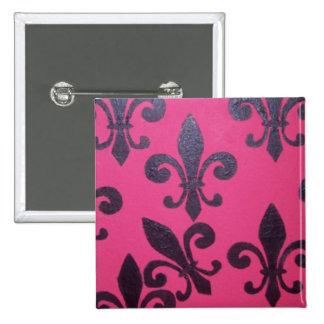 Pink Fleur De Lis Button