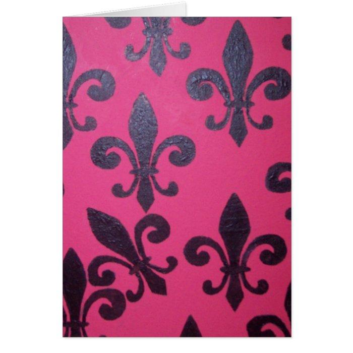 Pink Fleur De Lis Card
