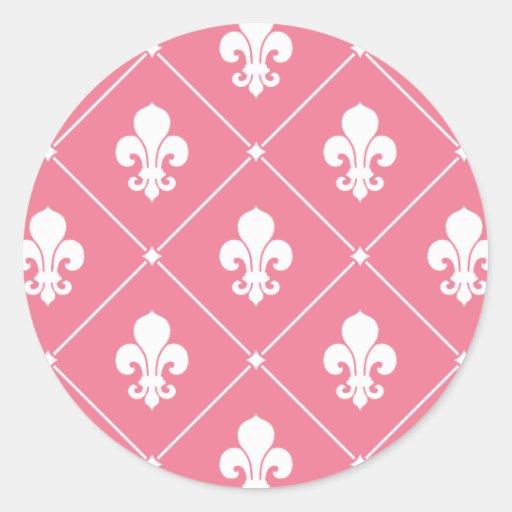 Pink Fleur de Lis Classic Round Sticker