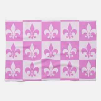Pink Fleur de lis Kitchen Towel