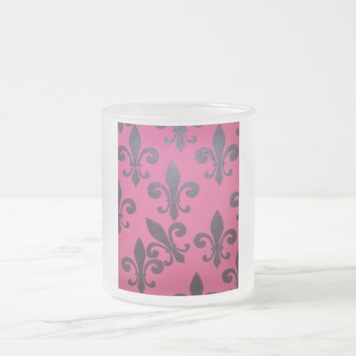 Pink fleur de lis painting frosted glass coffee mug