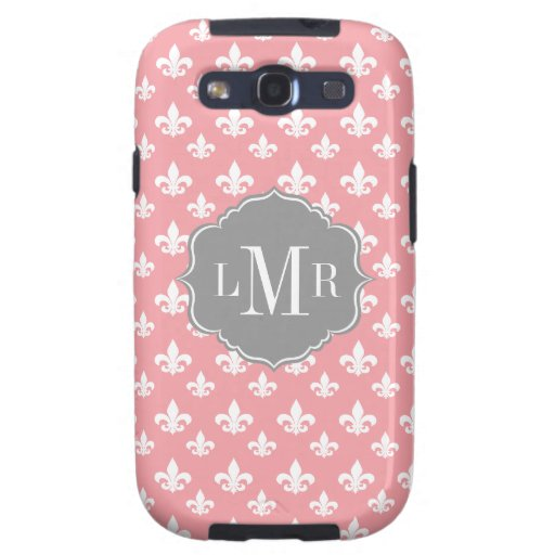Pink Fleur De Lis Pattern Monogram Galaxy SIII Covers
