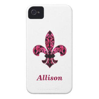 Pink Fleur de lis Phone Case Case-Mate iPhone 4 Case