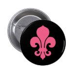 Pink Fleur de Lis Pinback Buttons
