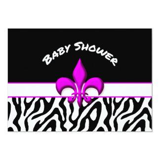 Pink Fleur de Lis Zebra Pattern Baby Shower Card