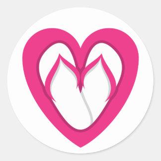 pink flip flop design 2 classic round sticker