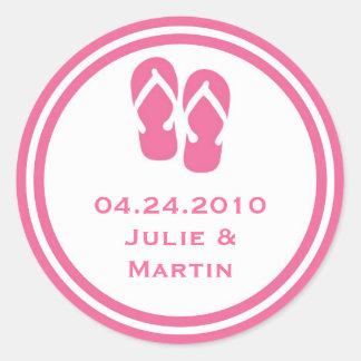 Pink flip flop thong wedding favor tag seal label
