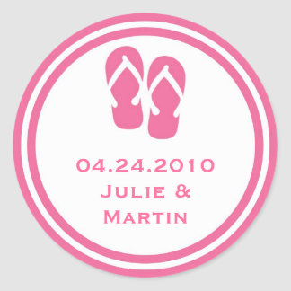 Pink flip flop thong wedding favor tag seal label round stickers