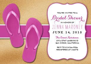 2bbd1af3d02f67 Pink Flip Flops in the Sand Bridal Shower Invite