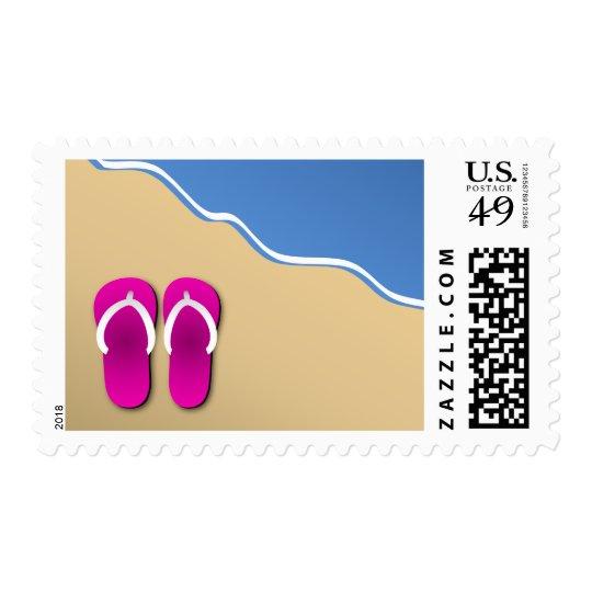 Pink Flip Flops on the Beach Stamp