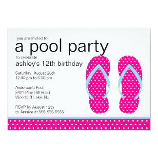 Pink Flip Flops Pool Party Invitation