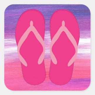 Pink Flip-Flops Square Sticker