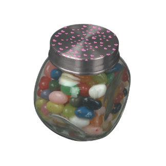Pink Floating Hearts Background Cover Jelly Belly Candy Jar
