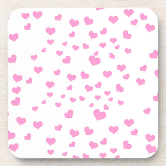 Pink Floating Hearts Background Cover Coaster
