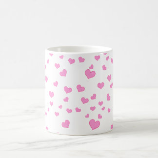 Pink Floating Hearts Background Cover Coffee Mug