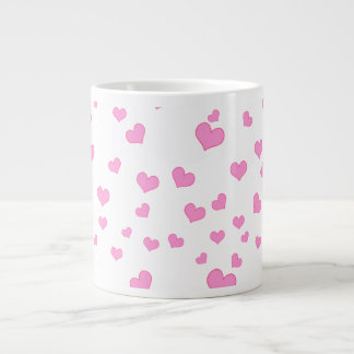 Pink Floating Hearts Background Cover Large Coffee Mug