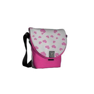 Pink Floating Hearts Background Cover Messenger Bag