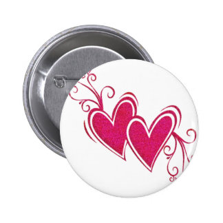 Pink Floating Hearts Pinback Button