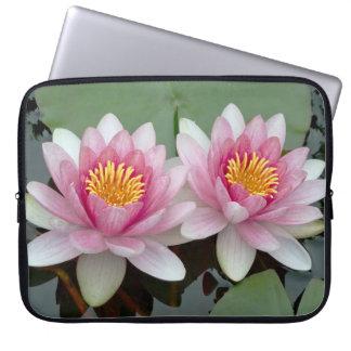 Pink Floating Waterlily Lotus Laptop Sleeve