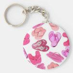 pink flops pastel pattern keychains
