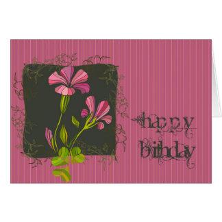 Pink Flora Birthday Greeting Card
