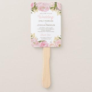 Pink Flora Wedding Program Fan