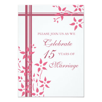 Pink Floral 15th Anniversary Party Invitation