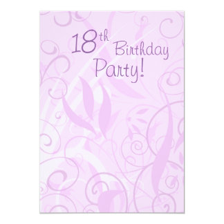 "Pink Floral 18th Birthday Party Invitations 5"" X 7"" Invitation Card"