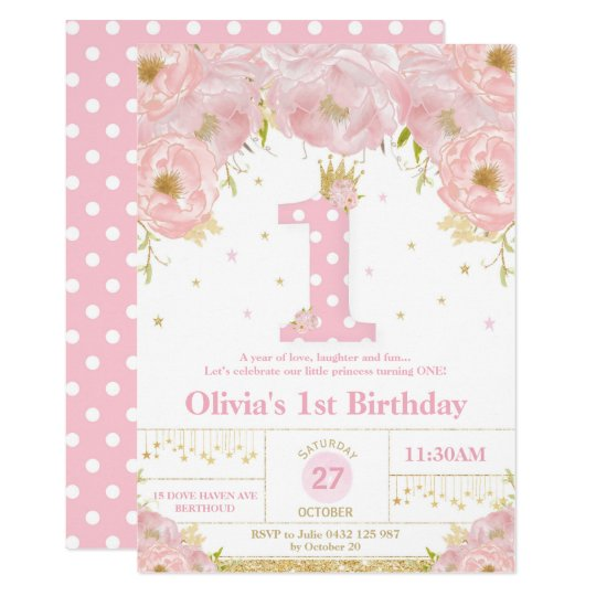 Pink Floral 1st Birthday Princess Invitation Girl Zazzle Com