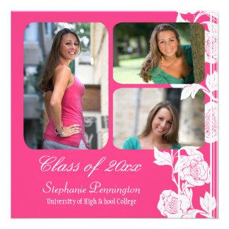 Pink floral 3 photo graduation party announcement
