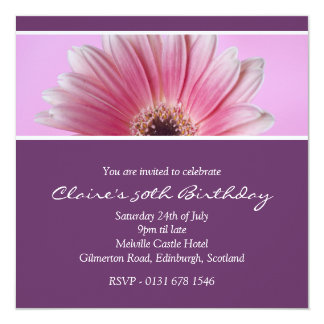 Pink Floral 50th Birthday Party Invitation